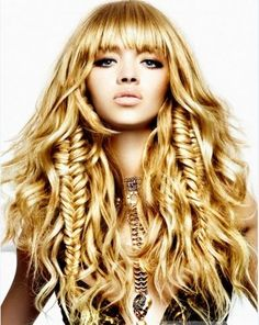 Bangs, waves and fishtail braids - what a beautiful mess! LOVE!!!