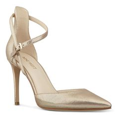 """City chic -- flattering and feminine. Our Taragon pointy toe pumps feature an alluring asymmetrical strap that curves across the foot, buckling just below the ankle. An elegant update to any shoe wardrobe, Taragon will complement virtually any ensemble. Leather upper. Man-made lining and sole. Padded insole for all-day comfort. 3 1/2"""" heel. Imported. No surprise, Taragon was spotlighted in the April issue of Essence magazine."""