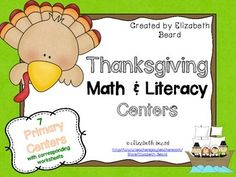 Thanksgiving Math and Literacy Centers for Pre-K, Kindergarten and First Grade! Jammed full of engaging centers that you kiddos will love!