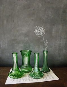 chalk marketing from thehubarbstudio on etsy Vintage Green Glass, Vintage Vases, Vintage Antiques, David Green, Flea Market Style, Product Shot, Green Vase, Thrift Stores, Damascus