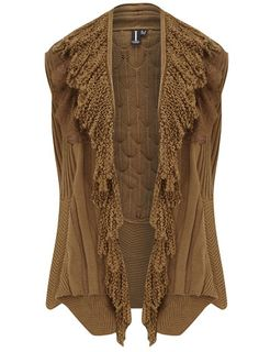 Beige frill knitted cardigan