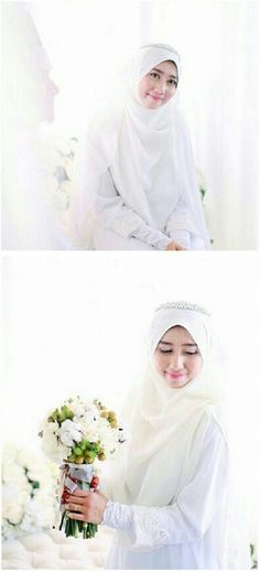White bridal hijab<3 {weddingsbyfauzan}