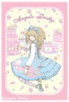 An Angelic Pretty illustration of a girl surrounded by sweets by Imai Kira / 今井キラ. Via Tumblr. #gothic #lolita