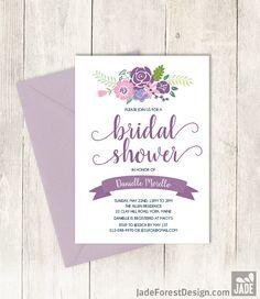 Floral Bridal Shower Invitation DIY / Rustic by JadeForestDesign