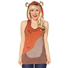 Ewok Ladies Hooded Tank Top - Brown, XL