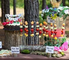 Enchanted Fairy Birthday Party - Kara's Party Ideas - The Place for All Things… Fairy Birthday Party, Garden Birthday, Birthday Party Themes, Birthday Ideas, Birthday Cake, Party Food Table Ideas, Kids Party Themes, Party Ideas, Food Ideas