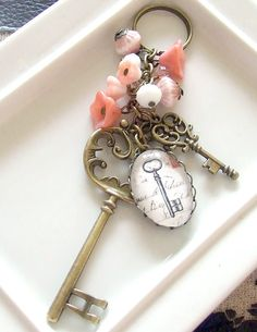 Keys Bag Charm key ring beaded bag charm key by beadishdelight, £11.00