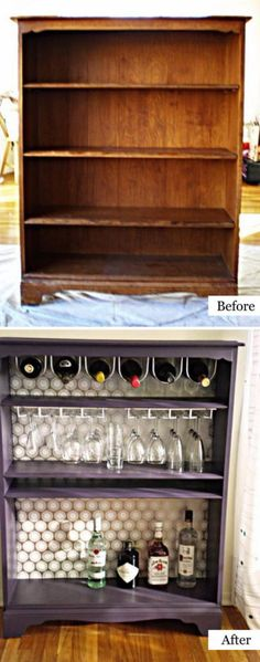 25 Turn a Bookcase Into a Bar