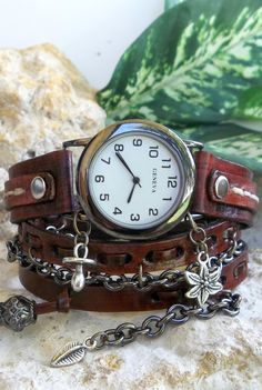 Womens watch Leather Wrist Watch Steampunk by CuckooNestArtStudio, $48.00