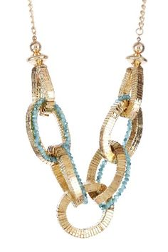 Interlocked Aqua Stones Statement Necklace by Leslie Danzis on @HauteLook