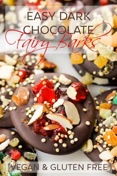 Easy Dark Chocolate Fairy Barks are fairy-sized chocolate barks with big flavor! Just swirl melted dark chocolate and top with bits of candied fruit and zest, nuts and a flurry of toasted quinoa for a treat that's full of natural holiday cheer! #vegan #gluten #dairy #free #chocolate #easy #holiday #Christmas #candy #quick