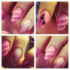 Lala Anthony  pink Barbie design nails