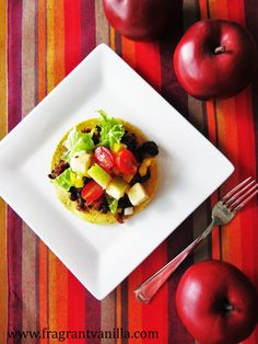 Vegan Black Bean Tostadas with Apple Salsa