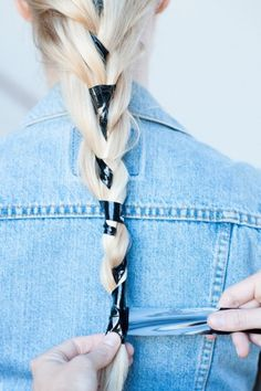 Easy & Unexpected DIY 'Dos — All Using Hair Accessories!: Step 6: Wrap the remaining bondage tape over the end of the French braid to secure.