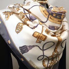 Authentic Vintage Hermes Silk Scarf Les Clefs or Les Cles or The Keys Lavender