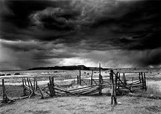 Old Corral and Approaching Storm, Antelope Flats, Ghost Ranch, New Mexico, 2005. ** Click image to review more details.
