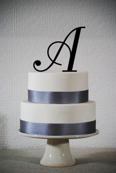 Monogram Wedding cake topper - A B C D E F G H I J K L M N O P Q R S T U V W X Y Z - available in 14 colors
