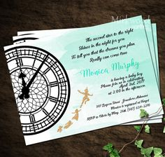 This listing is for a Peter Pan Baby Shower Invitation. It can be customized for your party. It has Peter Pan in glitter flying by the iconic Big Ben face. Please note there is no actual glitter, it is a high res image of glitter. You choose between a cool mint watercolor background