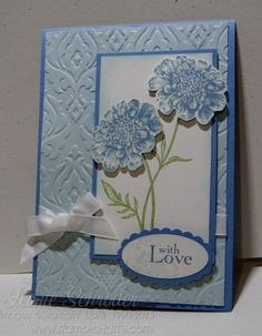 Blue and Baroque .... sweet and soft using Field Flowers and Beautifully Baroque Embossing folder from @Coral Wheeler Wheeler Hinz' Up!  #stampinup #fieldflowers #beautifullybaroque