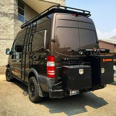 @syncvans Sprinter van build with Aluminess gear all around including new bike rack swing arm option . #aluminess #roofrack #ladder #bumpers #bikerack #1upUSA #bicycles #sprinterconversion #sprintercampervans #mercedessprinter #mercedesbenz #adventurevan #adventuremobile #sprintervanconversion