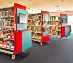 Really fun mobile shelving from an Australian company. Note the end panels with integral OPACs and displays. Good on you, DVA Fabrications.