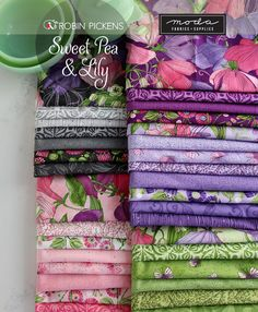 Sweet Pea & Lily fabric by Robin Pickens will be showing at Quilt Market 2018 in Houston at the Moda Fabrics booth. Liberty Quilt, Craft Supplies Online, Quilt Material, Quilt Patterns, Quilting Ideas, Purple Fabric, Sewing Notions, Fabric Online, Quilt Making