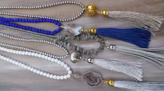Long beaded tassel necklace with gold by AllAboutEveCreations