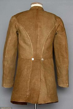 MAN'S LINEN FROCK COAT, 1860-1870 Brown, single patch pocket on left breast, rounded notched collar, 2 button closure, horizontal waist seam, back vent w/ 2 hidden pockets inside, mother of pearl buttons.