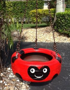 How to Repurpose Old Tires Into Creative Kids Swing – Kids Crafts Diy Tire Swing, Tire Swings, Diy Playground, Backyard For Kids, Diy For Kids, Tire Craft, Painted Tires, Hand Painted, Tire Garden