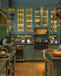 if not white.A new kitchen in the style of a grand butler's pantry replaced a Euro-modern remodeling with cramped spaces. Original leaded-glass cabinets were found in the carriage house. Perfect color for a victorian Home Decor Kitchen, New Kitchen, Home Kitchens, Green Kitchen, Kitchen Pantry, Kitchen Cupboards, Country Kitchen, Organized Kitchen, Glass Kitchen Cabinet Doors