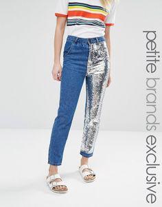 Image 1 ofLiquor & Poker Petite Boyfriend Jeans With One Sequin Leg