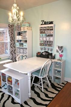 Don't care for the decor or patterns, but like the Sewing/craft space and table sticking out of the wall