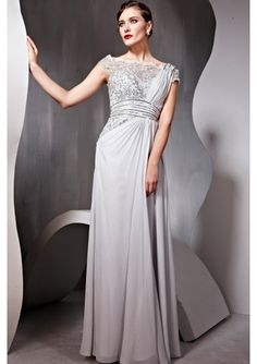 Wedding dress online shop - Silver Grey Elegant Stock Sabrina Neckline and Luxurious Beadings Bodice Mother Of Bride Column Evening Dress 56695
