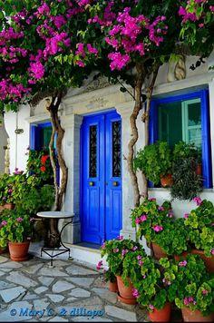 Greek Island Style Blue Wooden Door