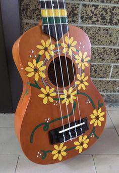 Hand Painted Soprano Daisy Hippie Girl Ukulele Made to Order You Pick Color! Ukulele Art, Ukulele Songs, Guitar Art, Music Guitar, Ukelele Painted, Painted Guitars, Ukulele Pictures, Ukulele Stickers, Ukulele Design