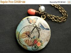 VALENTINE SALE Bluebird Locket Necklace. Bicycle Locket Necklace. Bird Necklace with Pink Coral Teardrop and Pearl. Photo Locket Necklace. H by StumblingOnSainthood from Stumbling On Sainthood. Find it now at http://ift.tt/2kft2xD!