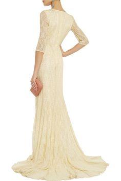 Love this #BadgleyMischka Metallic lace #gown #dress back