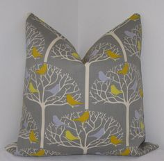 Birdtree Grey Pillow Cover Indoor/Outdoor  by Fabric2Designs, $35.00
