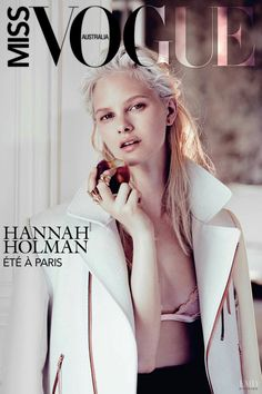 Cover of Miss Vogue Australia with Hannah Holman, August 2013