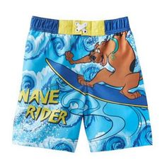 Toddler Boys Scooby Doo Swim Trunks Blue Wave Rider Board Shorts Cute blue Scooby Doo Wave Rider swimming trunks. Cool Toddler boys Beach Shorts.  #ScoobyDoo #Apparel