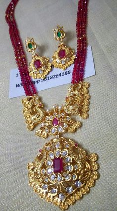 BACK IN STOCK Price Real gold look . Beautiful one gram gold long haaram with pink color beads. 29 October 2018 Source by shailcha 1 Gram Gold Jewellery, Gold Jewellery Design, Bead Jewellery, Beaded Jewelry, Handmade Jewellery, Pearl Jewelry, Antique Jewelry, Jewelery, Jewelry Necklaces