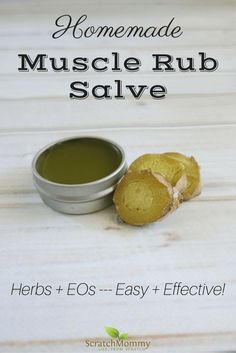 Achy, sore, tired muscles? You need our homemade muscle rub salve! With herbs and EOs this easy recipe is sure to help you relax...naturally!- Scratch Mommy