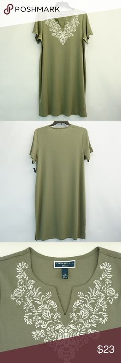 d7c68eacec852f Karen Scott V Neck Printed T Shirt Dress Olive 1X Karen Scott Womens Plus  Size Dress