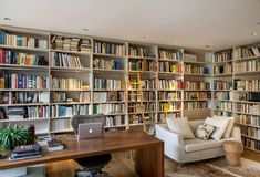 Home Library Rooms, Home Library Design, Home Libraries, Home Office Design, Home Interior Design, House Design, Small Home Offices, Bookshelf Design, Bookshelves