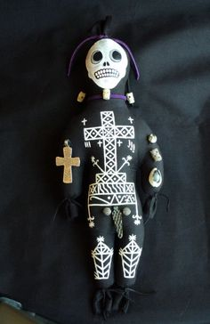 Baron Samedi Voodoo Hoodoo Doll Handsewn Handpainted With Herbs To Remove Negative Energy for sale by Creepy Stuff at MoreThanHorror.com