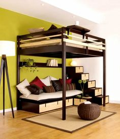 Modern Minimalist Boy Bedroom Idea With Espresso Wood Loft Bed With Stair And Sofa Bed Underneath And Wall Shelf Also Unique Tripod Floor Lamp And Brown Rug And Wooden Floor And Lime Green Wall Paint Color