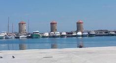 Rhodes Town In Greece Greek Beauty, Windmills, New York Skyline, Greece, To Go, Island, Travel, Rhodes, Greece Country