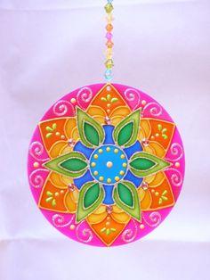 Mandala Vitral em Acrílico 12 cm
