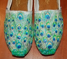 Custom TOMS  Peacock Feathers price includes by PurpleLizardStudio,