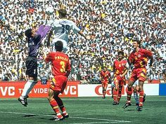 Sweden 2 Romania 2 (5-4 pens) in 1994 in San Francisco. Kennet Andersson heads the equaliser on 115 minutes and its 2-2 in the World Cup Quarter Final.